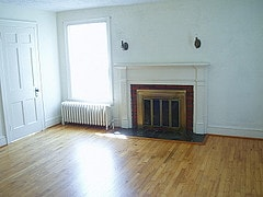 Belle II Apt Living Room Fireplace